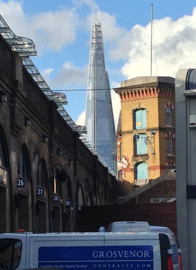 A picture of The Shard taken from our yard in Bermondsey.
