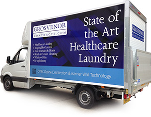 an image of a Grosvenor Contracts laundry delivery vehicle