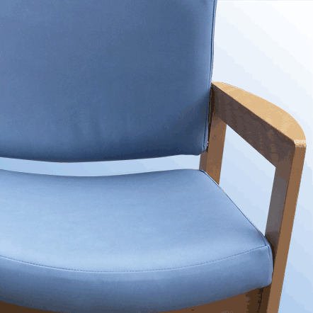 an image of a waiting room chair theat has been re-upholstered