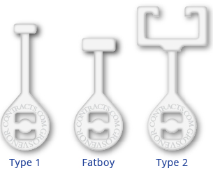 This image shows the Grosvenor Contracts three hook types for disposable curtains: Type 1; The Fatboy; Type 2