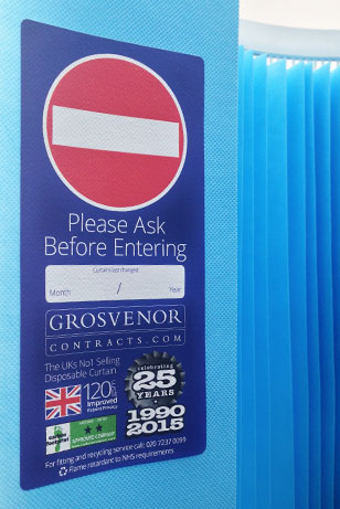 an image of a Grosvenor Contracts Disposable Cubicle Curtain with our new label