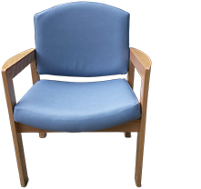 Re-upholstered waiting room chair