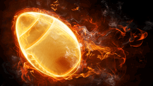 an image of a rugby ball on fire