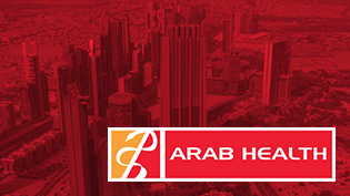 an image of Dubai with the Arab Health logo