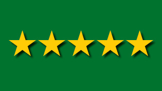 an image of 5 gold stars on a green background