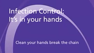 An image of an intro screen: Infection Control: It's in your hands