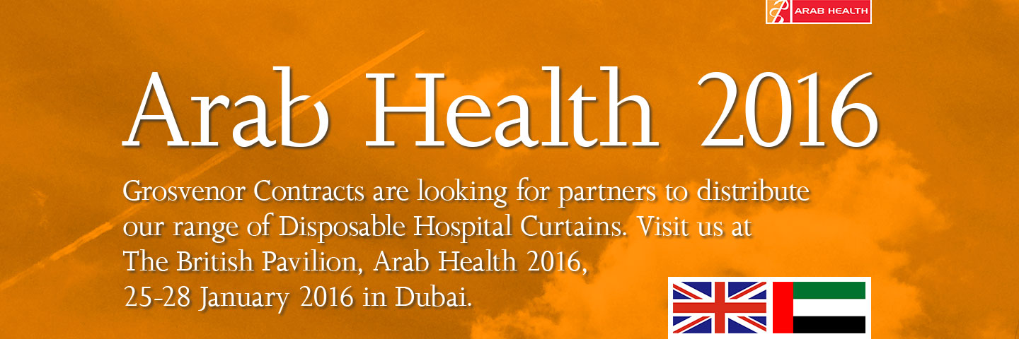 a picture of the sky with the words Arab Health 2016 - Grosvenor Contracts are looking for partners to distribute our range of Disposable Hospital Curtains. Visit us at The British Pavilion, Arab Health 2016, 25-28 January 2016 in Dubai.