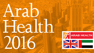 an image of Dubai with the words Arab Health 2016